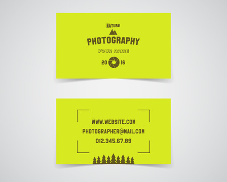 deisgn: Modern light Business card template for nature photography studio. Unusual design. Corporate brand identity template with shutter logo, badge element. Photograph label. Realistic shadow. Vector.