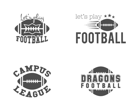 College american football team, championship badges, logos, labels, insignias set in retro style. Graphic vintage design for t-shirt, web. Monochrome print isolated on a white background. Vector. Иллюстрация