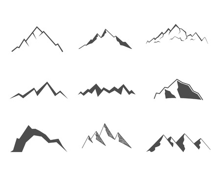 camping: Set of mountain elements. Outdoor icon. Hand drawn snow ice mountain tops, decorative symbols isolated. Use them for camping logo, travel labels, climbing or hiking badges. Vector illustration.