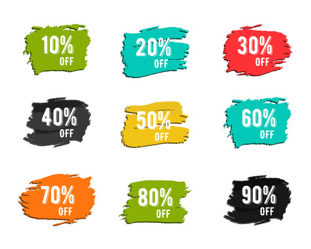 Christmas, new year, black friday, cyber monday or winter autumn sale percents. Vector paint watercolor ink brush, splash. Colorful discount symbols. Discounts template. Percent sign. Stock Illustratie