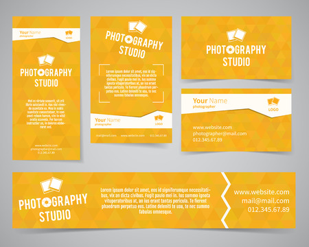 deisgn: Modern light identity set. Business card, banner, flyer, poster templates photography studio or other business. Poly design. Corporate brand template with shutter logo, badge element. Vector.