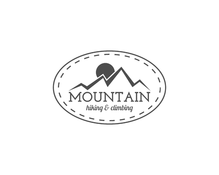 family hiking: Vintage mountain trekking, climbing hiking camping badge, outdoor logo, emblem and label concept for web, print t shirt etc. Retro stylish monochrome design. Easy to change color. Vector illustration Illustration