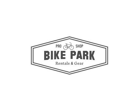 Vintage mountain bike shop park camping badge, outdoor logo, emblem and label concept for web, print. Retro stylish monochrome design. Best for emblem. Easy to change color. Vector illustration