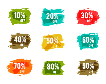 Christmas, new year, black friday, cyber monday or winter autumn sale percents. Vector paint watercolor ink brush, splash. Colorful discount elements. Discounts template. Easy to change color. Ilustracja