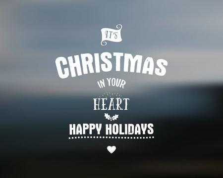 holiday season: Merry Christmas lettering. Wishes Vector clipart for Holiday season cards, posters, banners, flyers and photo overlays. Hand drawn typography element. Christmas in your heart. Illustration