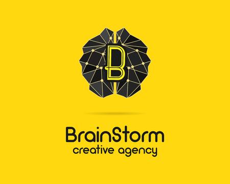 branding: Brainstorm logotype, brain, creation idea logo template and elements. Solve problems, idea creation business company label. Creative agency brand identity. Brain icon concept. Vector illustration.