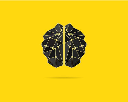 brains: Brainstorm template, brain icon, idea poster template and elements. Brain vector concept. Brochure design. Creative yellow background concept. Text paper. Brainstorm poster. Brain power. Vector.