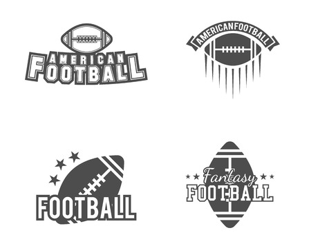 American football team, college badges, logos, labels, insignias set in retro style. Usa sport symbol. Graphic vintage design for t-shirt, web. Monochrome print isolated on a white background. Vector.
