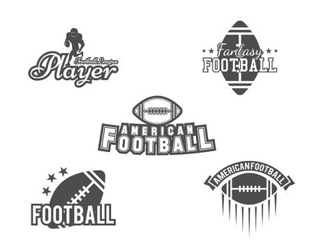 pelota de futbol: rugby de la universidad y el equipo de fútbol americano, insignias de la universidad, logotipos, etiquetas, insignias establecidos en estilo retro. diseño gráfico de la vendimia para la camiseta, web. impresión monocroma aislado en un fondo blanco. Vector.