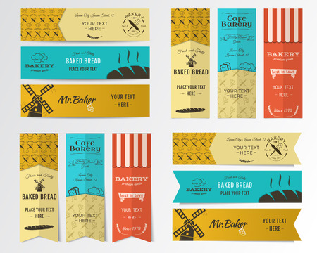 bakery shop: Vector Bakery banners. Shop, cupcake and cafe labels collection. Stickers set with fresh bread, windmill icons, logos, labels. Bakery products emblem design. Can be use in web or typography print Illustration