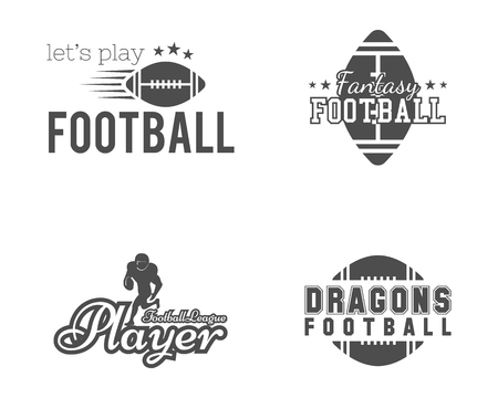 American football team, college badges, labels, insignias set in retro style. Usa sport emblem. Graphic vintage design for t-shirt, web. Monochrome print isolated on a white background. Vector.