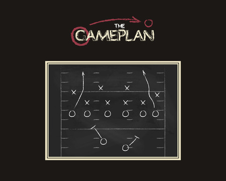 tactic: American football field background with game plan blackboard. Chalkboard unusual design. Sports tactic concept. Hand drawn style