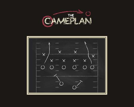 American football veld achtergrond met een game plan schoolbord. Krijtbord ongebruikelijk ontwerp. Sport tactiek concept. Hand getrokken stijl Stock Illustratie