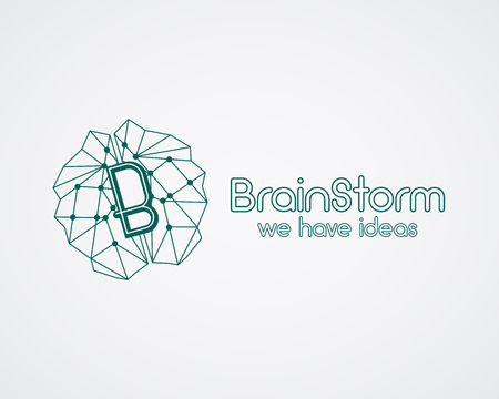 solve problems: Brainstorm, brain, creation and idea  template and elements. Solve problems, idea creation business company . Creative agency corporate brand identity. Brain icon. Line design. Vector. Illustration