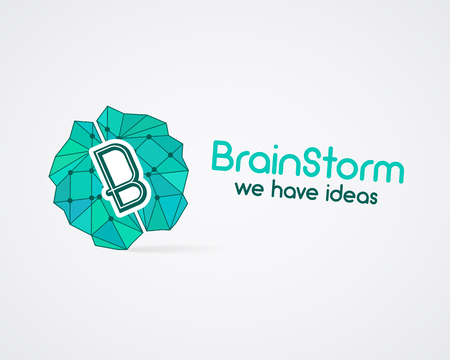 solve problems: Brainstorm, brain, creation and idea  template and elements. Solve problems business company . Creative agency corporate brand identity. Brain icon concept. Vector.