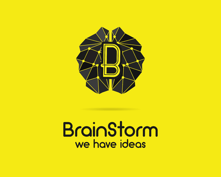 brainstorm: Brainstorm, brain, creation and idea  template and elements. Solve problems, idea creation business company . Creative agency corporate brand identity. Brain icon concept. Vector.