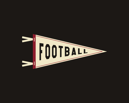 College Football Pennant Banner Icon. Sport flag, training camp emblem. University team label element. Vector sign.