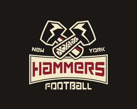 sports team: American football label. Hammer logo element innovative and creative inspiration for business company, sport team, university championship etc. Usa sports emblem. Vector illustration Illustration