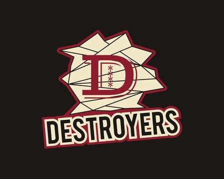 the destroyer: American football label. Destroyers logo element innovative and creative inspiration for sport team, university championship etc. Usa sports emblem. Vector. Illustration