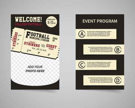 week end: American football week end game back and front flyer template design.