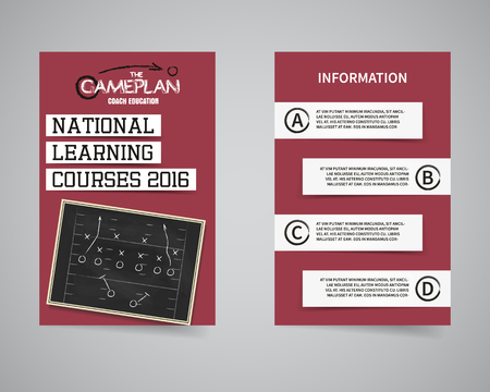 football coach: American football coach courses back and front flyer template design.