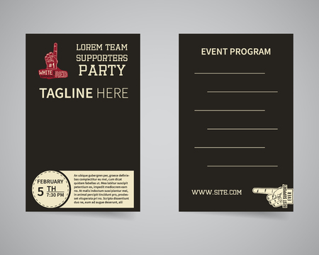 supporters: American football back and front supporters party flyer template design. Usa Sport brand identity letterhead. Event Poster and banner with typography and text. Vector illustration Illustration
