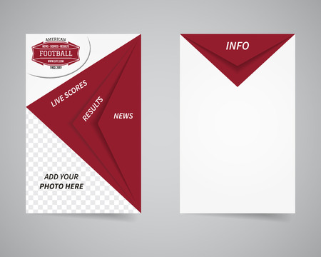 news event: American football back and front news website flyer template design. Usa Sport brand identity letterhead. Event Poster and brochure with typography and text. Triangle design. Vector illustration Illustration