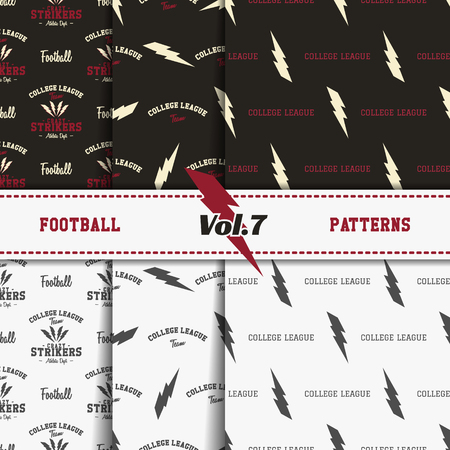 pelota rugby: Set of american football patterns. Usa sports seamless background collection. Sport wallpaper with print in monochrome and color design. Vector soccer equipment graphic. Sketch, hand drawn style Vectores
