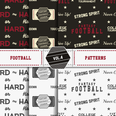 soccer field: Set of american football patterns. Usa sports seamless background collection. Sport wallpaper with field in monochrome and color design. Vector soccer equipment graphic. Sketch, hand drawn style