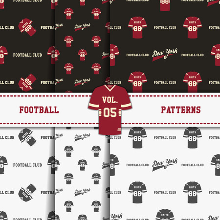 soccer equipment: Set of american football patterns. Usa sports seamless background collection. Sport wallpaper with t shirt in monochrome and color design. Vector soccer equipment graphic. Sketch, hand drawn style