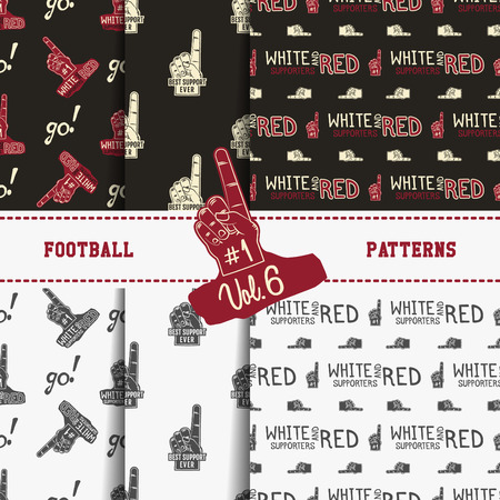 soccer equipment: Set of american football patterns. Usa sports seamless background collection. Sport wallpaper with support in monochrome and color design. Vector soccer equipment graphic. Sketch, hand drawn style