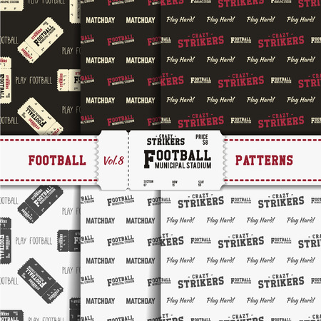 soccer equipment: Set of american football patterns. Usa sports seamless background collection. Sport wallpaper with ticket in monochrome and color design. Vector soccer equipment graphic. Sketch, hand drawn style