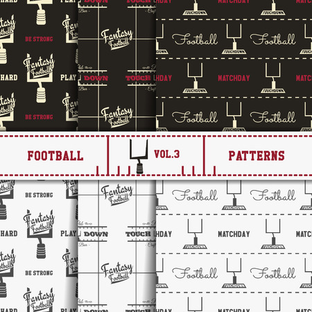 soccer equipment: Set of american football patterns. Usa sports seamless background collection. Sport wallpaper with goal in monochrome and color design. Vector soccer equipment graphic. Sketch, hand drawn style