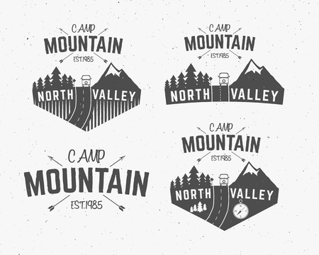 wilderness: Set of Mountain camp vintage explorer labels Outdoor adventure logo design Travel hand drawn and hipster insignia. Snowboard icon symbol Wilderness, rv, motorhome, forest camping badge. Vector.