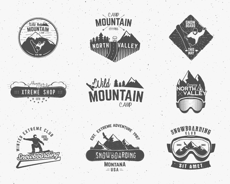 camps: Set of Mountain camp vintage explorer labels Outdoor adventure logo design Travel hand drawn and hipster insignia. Snowboard icon symbol Wilderness, climbing, forest camping badge. Vector.