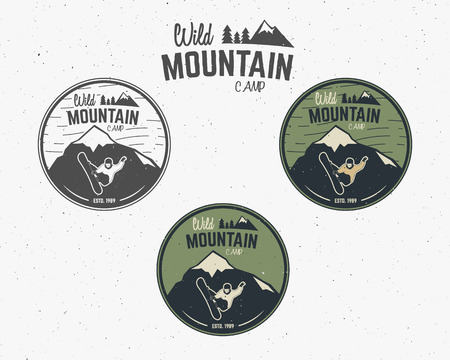 wilderness: Set of Mountain camp vintage explorer labels Outdoor adventure design Travel hand drawn and hipster insignia. Snowboard icon symbol Wilderness, forest camping badge. Vector.