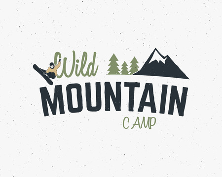 Mountain camp vintage mountain explorer label Outdoor adventure design Travel hand drawn and hipster insignia. Snowboard icon symbol Wilderness, forest camping badge. Use for hiking parks Vector Vettoriali