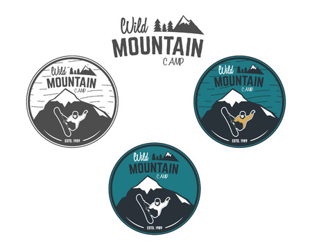 wilderness: Set of Mountain winter camp vintage explorer labels. Outdoor adventure design. Travel hand drawn and hipster insignia. Snowboard icon symbol. Wilderness, forest camping badge. Vector. Illustration
