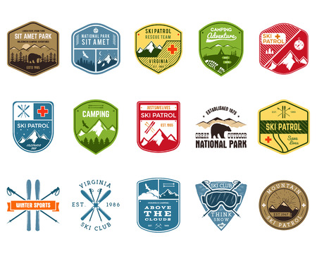 outdoors: Set of Ski Club, Patrol Labels. Vintage Mountain winter camp explorer badges. Outdoor adventure logo design. Travel hand drawn and hipster color insignia. Snowboard icon symbol. Wilderness. Vector.