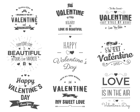Vector photo overlays, hand drawn lettering collection, inspirational quote. Valentine day labels set. Love is in the air, you are my heart and more on white background. Best for gift card, brochure.