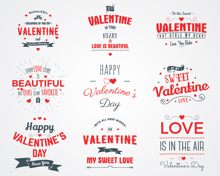 love: Vector photo overlays, hand drawn lettering collection, inspirational quote. Valentine day labels set. Love is in the air, my sweet love and more on white background. Best for gift card, brochure.