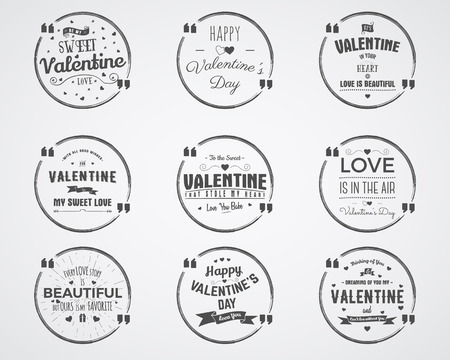 air bubble: Vector photo overlays, hand drawn lettering collection, inspirational quote. Valentine day badges set. Love is in the air, bubble quote and more on white background. Best for gift card, brochure. Illustration