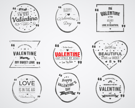 air bubble: Vector photo overlays, hand drawn lettering collection, inspirational quote. Valentine day labels set. Love is in the air, bubble quote and more on white background. Best for gift card, brochure. Illustration