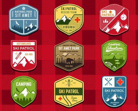 wilderness: Set of Ski Club, Patrol Labels. Retro Mountain winter camping explorer badges. Outdoor adventure logo design. Travel hand drawn and hipster color insignia. Snowboard icon symbol. Wilderness. Vector.