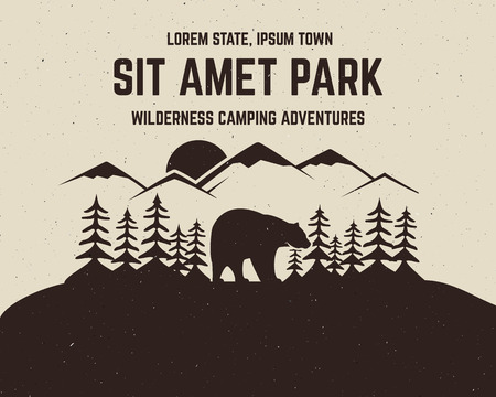 Camping vector brochure and label. The concept of flyer for your business, web sites, presentations, advertising etc. Quality design elements. Flat outdoor background style. National park banner.
