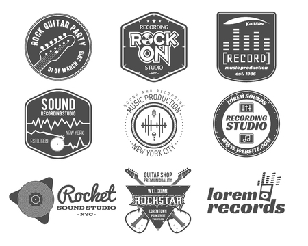 logo music: Set of vector music production logo,label, sticker, emblem, print or logotype with elements  guitar for sound recording studio, t-shirt or sound production Podcast and radio badges, typography design Illustration