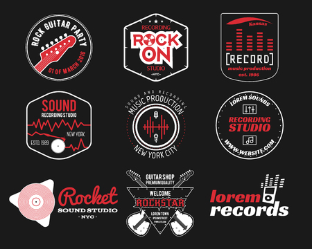 Set of vector music production logo,label, sticker, emblem, print or logotype with elements - guitar, vinyl for sound recording studio, sound production Podcast and radio badges, typography design. Ilustrace
