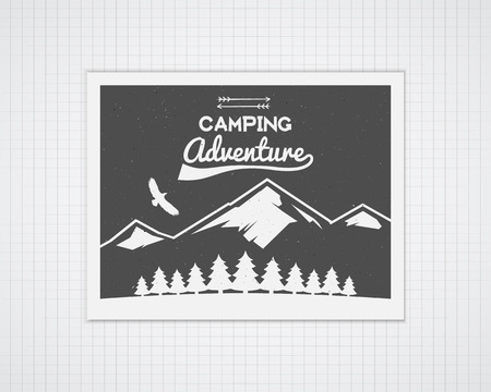 Camping vector frame template with travel poster. Retro outdoor style, monochrome design. National park banner. Forest camp elements - mountain, trees, eagle and typography. Flat design. Illustration