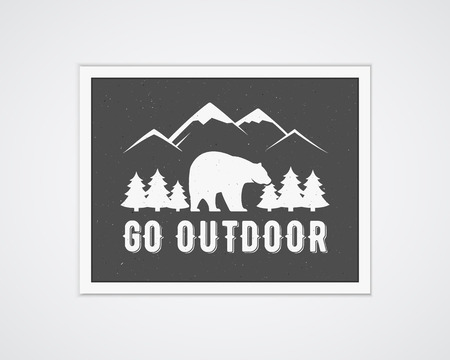 national park: Camping vector frame template with travel poster. Retro go outdoor concept, monochrome design. National park banner. Forest camp elements - mountain, trees, bear and typography. Flat design.