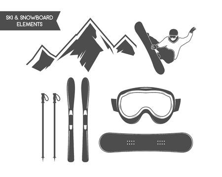 겨울 스포츠 요소입니다. 스노 보드, 스키 기호입니다. 야외 모험 아이콘입니다. 여행 손으로 그린 및 hipster 단색 휘장 로고, infographics, 레이블, 배
